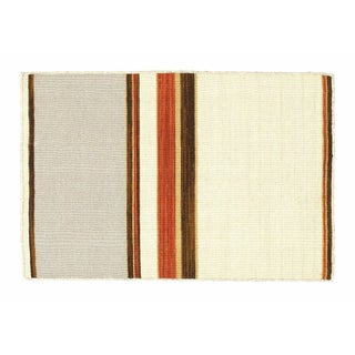 Gray, Brown & Orange Striped Dhurrie - 2' x 3'