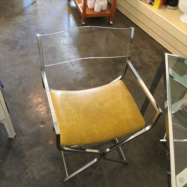 Chrome and Glass Game and or Dining Table and Four Chrome and Lucite Armchairs - Image 7 of 11