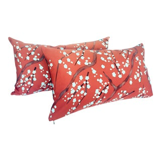 Vintage Japanese Plum Blossom Pillows - a Pair