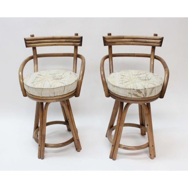 Mid-Century Modern Rattan Bamboo Swivel Bar Stools - Set of 2 - Image 4 of 6