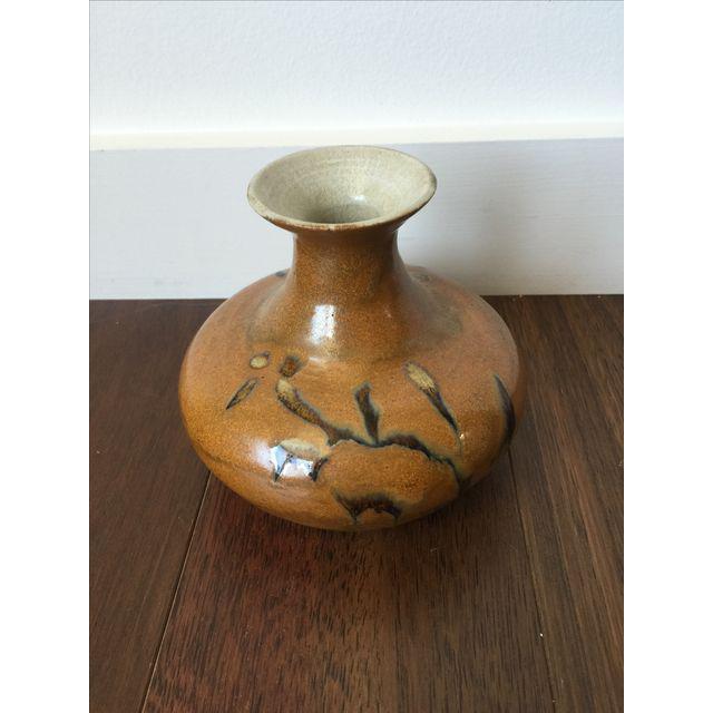 Tree Design Handmade Tan Clay Vase - Image 4 of 7