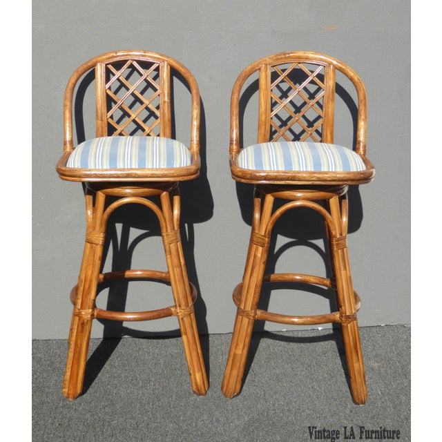 Vintage Tiki Palm Beach Bamboo Rattan Bar Stools - A Pair - Image 2 of 10