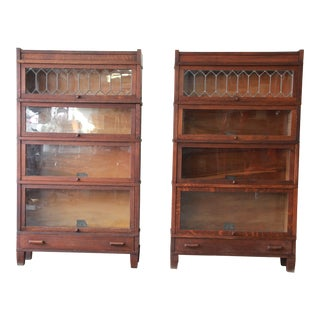 Antique Globe-Wernicke Leaded Glass Door Oak Barrister Bookcases - a Pair