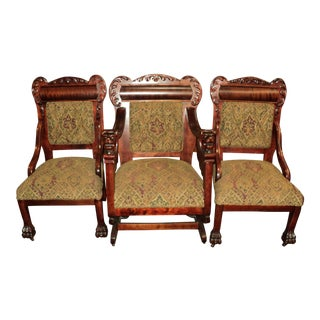 Antique Mahogany Platform Rocking Chair + 2 Side Chairs - Set of 3