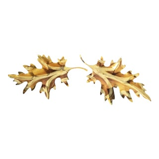 1970's Brass Leaf Wall Hanging - A Pair