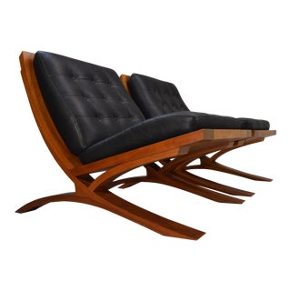 "Thomas Moser ""VITA Collection"" Cherry & Leather Lounge Chairs - a Pair"