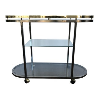 Mid-Century Modern Chrome & Brass Bar Cart