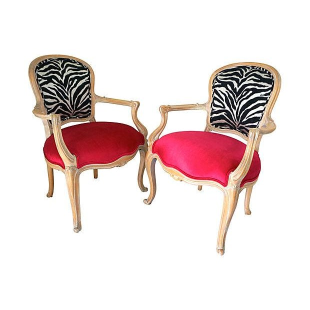 Vintage Pink & Zebra Print French Chairs - A Pair - Image 5 of 6