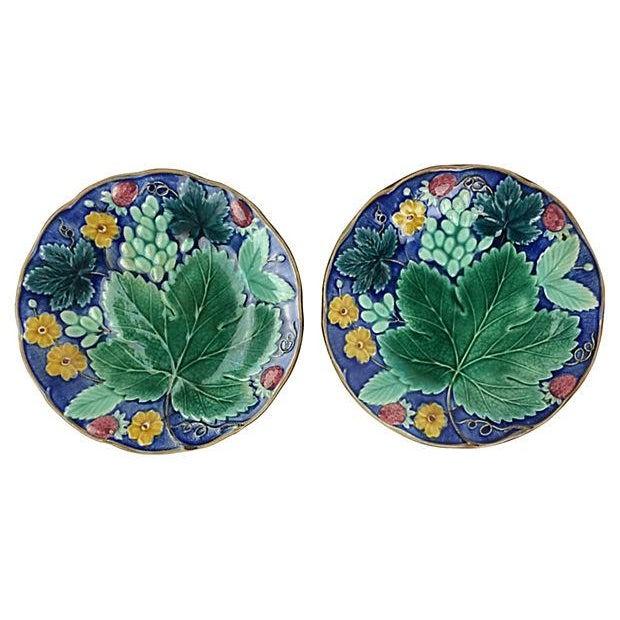 Image of European Majolica Plates - Pair