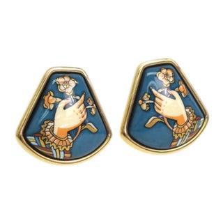 Hermes Cloisonne Clip Earrings