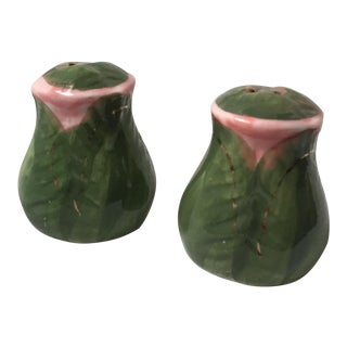 Hand Painted Rose Bud Salt and Pepper Shakers