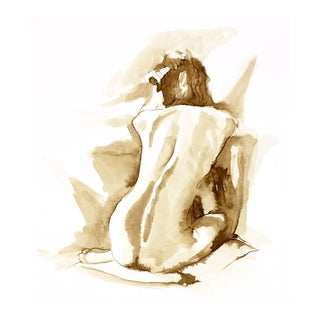 Framed Seated Nude Female Figure Drawing