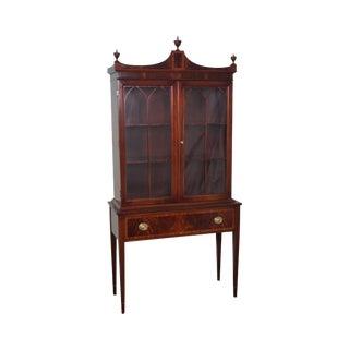 Custom Quality Mahogany Inlaid Federal Style Small China Cabinet circa 1940s