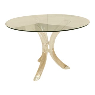 Round Mid-Century Lucite Tusk Dining Table