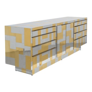 A Paul Evans Brass and Chrome Cityscape Cabinet 1970s