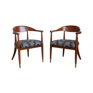 Reupholstered Mid-Century Armchairs - a Pair