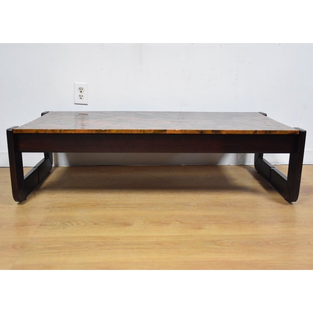 Lafer Brazilian Rosewood and Copper Coffee Table - Image 3 of 11