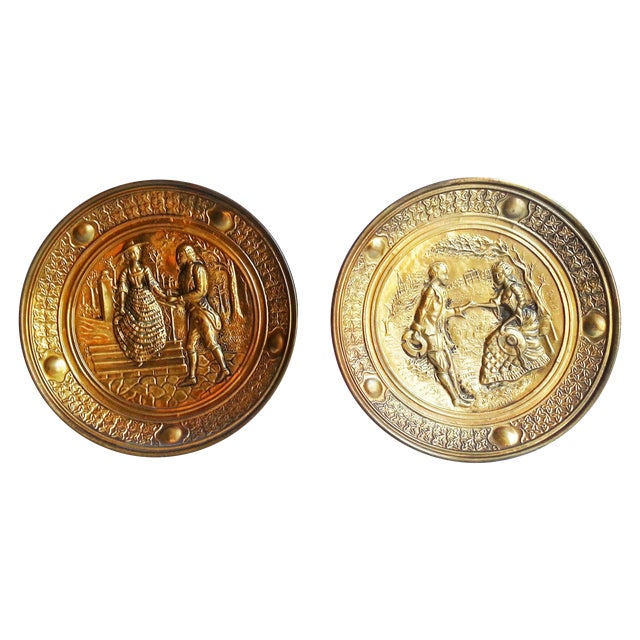 Vintage Decorative Brass Wall Plates - A Pair - Image 1 of 6