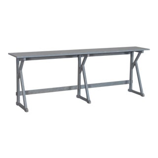 Grey Painted Shallow Fruitwood Server Table Inspired by a French Antique