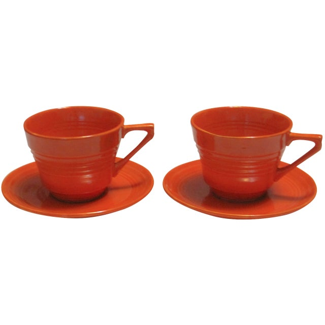 Mid-Century Red Harlequin Cups & Saucers - A Pair - Image 1 of 6
