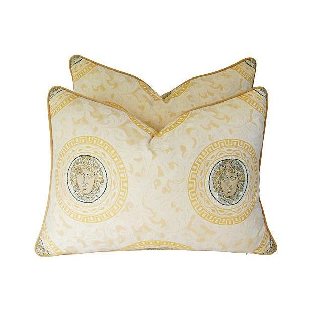 Custom Italian Versace-Style Medusa Pillows - Pair - Image 3 of 9