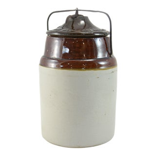 Antique Weir Two-Tone Stoneware Farmhouse Preserve Crock