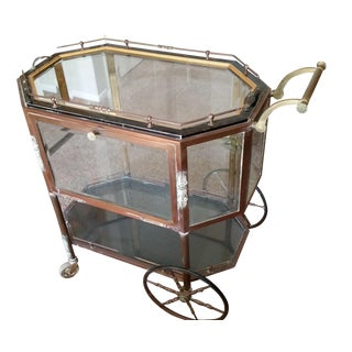 1940's Brass & Glass Bar Cart
