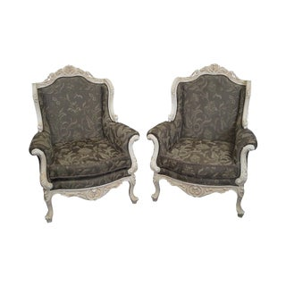 French Louis XIV Style Carved Bergere Chairs - A Pair
