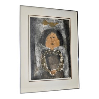 "Graciela Rodo Boulanger ""Girl w/ Bird"" Signed & Numbered Lithograph c.1970s"