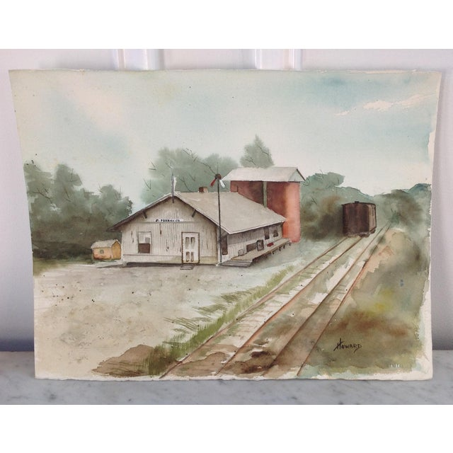 Watercolor of a Train Station - Image 2 of 5