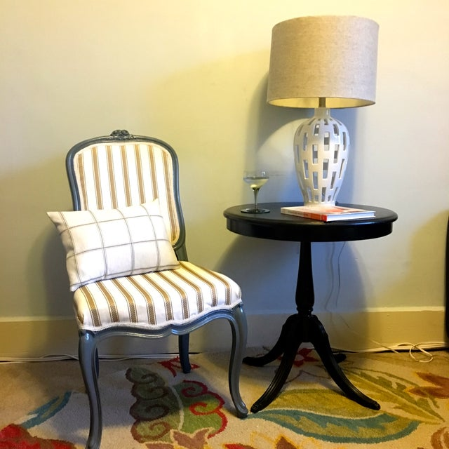 Antique Yellow & Gray Stripe Chair - Image 7 of 7