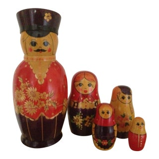 Vintage Russian Matryoshka Nesting Dolls - Set of 5