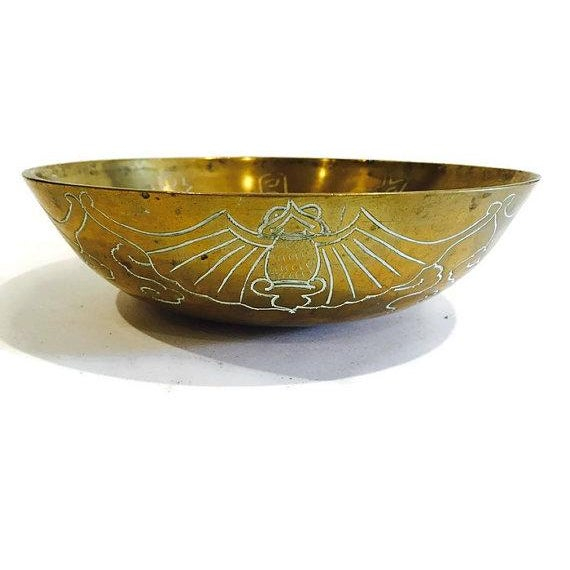 Vintage 1920 Solid Brass Etched Bat Bowl - Image 2 of 6