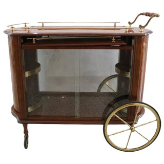 Mid-Century Italian Bar Cart in Wood, Glass and Brass, Attributed to Aldo Tura