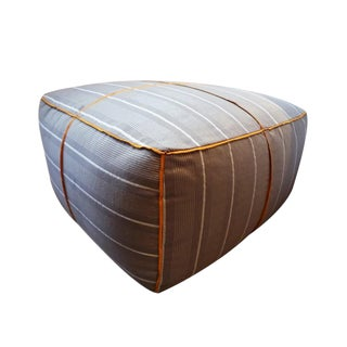 Gray & White Stripe High Street Pouf