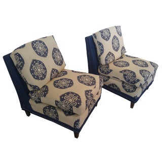 Baker Furniture Ikat Slipper Chairs - A Pair