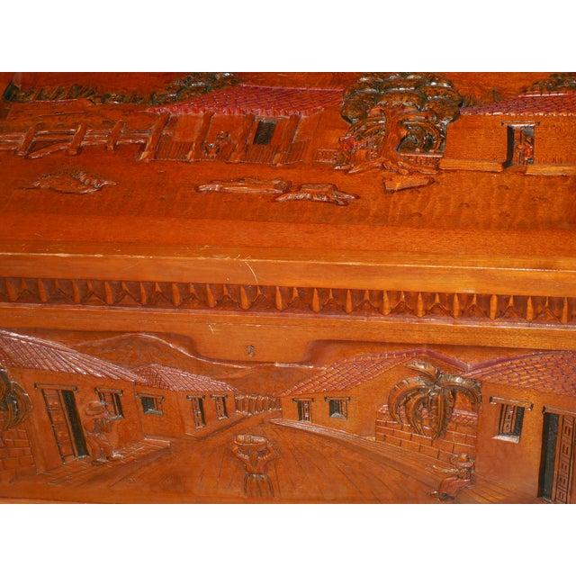 Honduran Carved Mahogany Trunk - Image 7 of 8