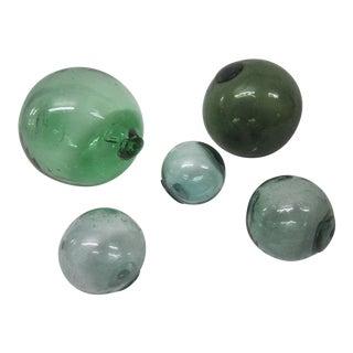 Green Glass Fishing Floats - Set of 5