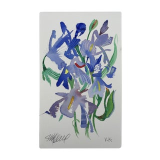 "Steve Klinkel ""Meadow Iris 1"" Original Watercolor Painting"