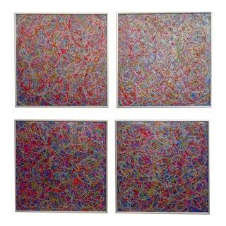 Mid-Century Pollock Style Paintings - Set of 4