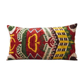 Multi-Colored Silk Velvet Ikat Pillow