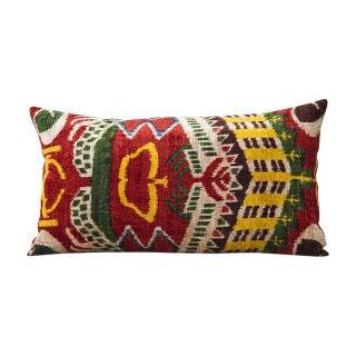 Multi-Colored Silk Velvet Ikat Pillow