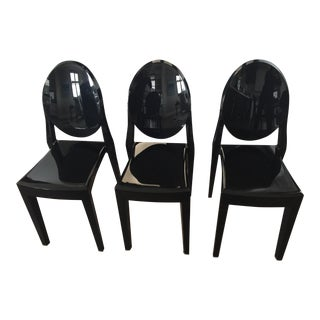 Phillipe Starck for Kartell Victoria Ghost Black Armless Chairs - Set of 3