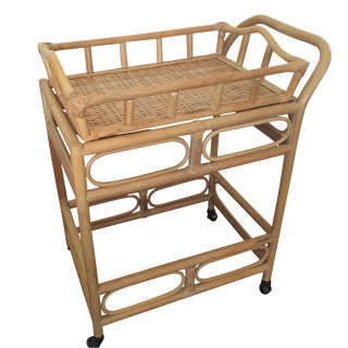 Rattan & Bamboo Cart with Tray