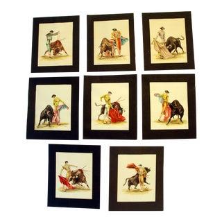 Mid-Century Matador & Bull Watercolor Paintings - Set of 8