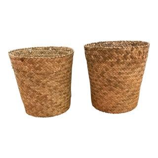 Boho Chic Rattan Planters - A Pair