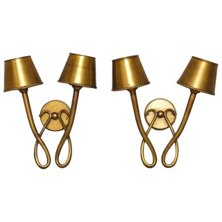 Two-Arm Looped Brass Bronze Wall Sconces - A Pair