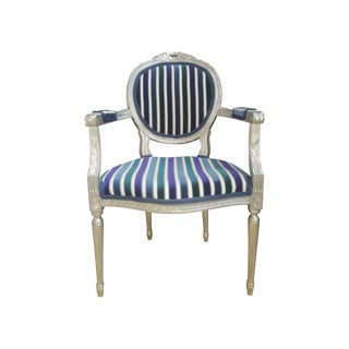 Antique Louis XVI Silver Leaf Velvet Stripe Chair