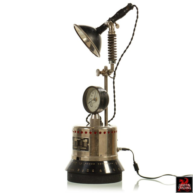 Industrial Table Lamp with LED Lighting and Clock - Image 3 of 10