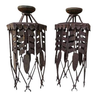 Spanish Wrought Iron Lanterns - A Pair